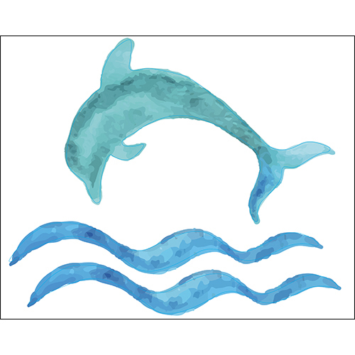 Sticker adhésif dauphin bleu pour déco de salle de bain moderne
