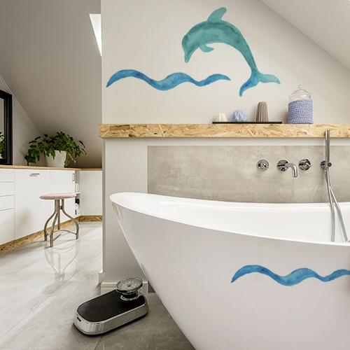 Décoration marine avec un sticker dauphin - Décoration de salle de bain et chambre
