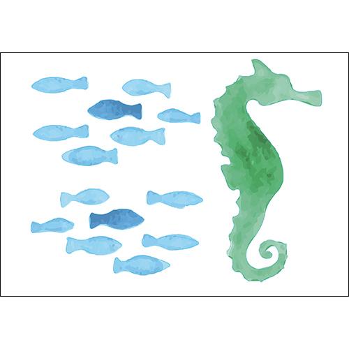 Sticker adhésif poissons bleu et hippocampe vert pour déco salle de bain d'enfant