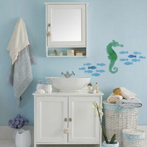 sticker hippocampe sur mur de salle de bain classique