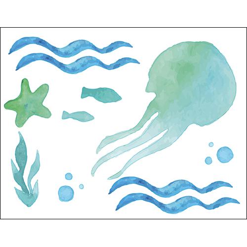 Sticker autocollant décoratif pour déco de salle de bain pieuvre dans la mer bleu