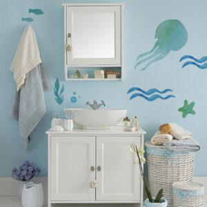 sticker pieuvre dans salle de bain classique
