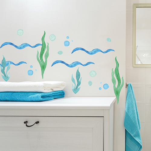 sticker algues collé au dessus dun meuble de salle de bain