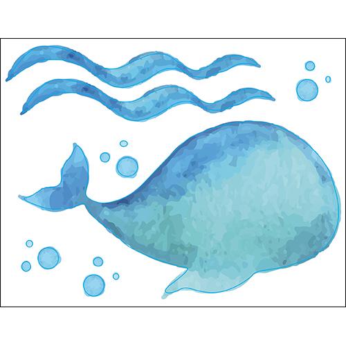 Sticker autocollant baleine bleu dans la mer pour décoration de salle de bain