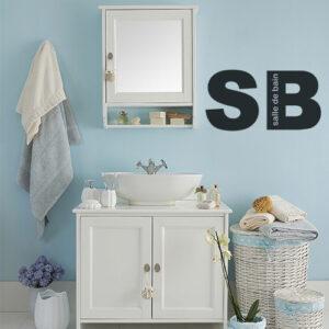 sticker SB noir sur mur de salle de bain classique