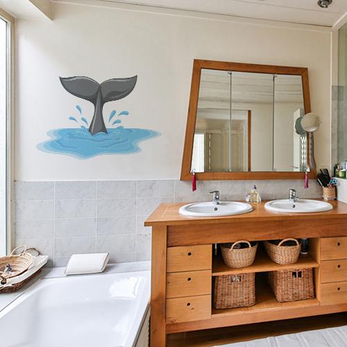 sticker queue de dauphin déco murale dans salle de bain spacieuse