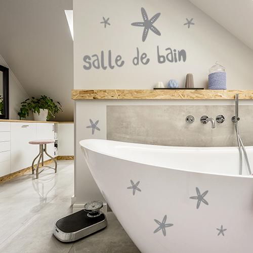 sticker sdb étoilée sur mur de salle de bain moderne