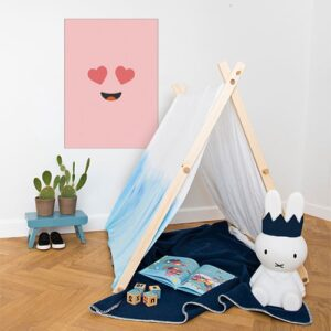 Décorationd e chambre d'enfant avec un poster adhésif smiley emoji rose love