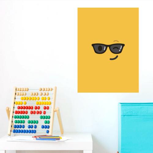 Décoration chambre d'enfant poster adhésif emoji jaune lunettes de soleil