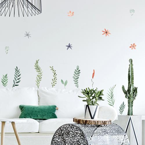 Déco fleurs séchées - Planche de sticker herbier - adhésifs déco fleurs à l'aquarelle