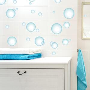 """Stickers """"bulles de savon"""" aménagées dans douche"""