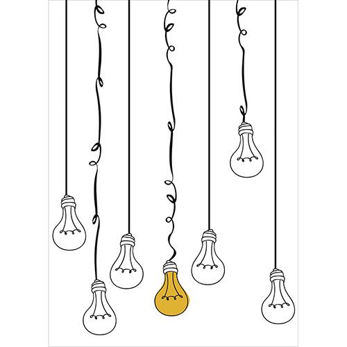 Set de 7 suspensions déco adhésives en trompe-l'oeil qui représente des lampes suspendues avec ampoules au bout d'un fil.