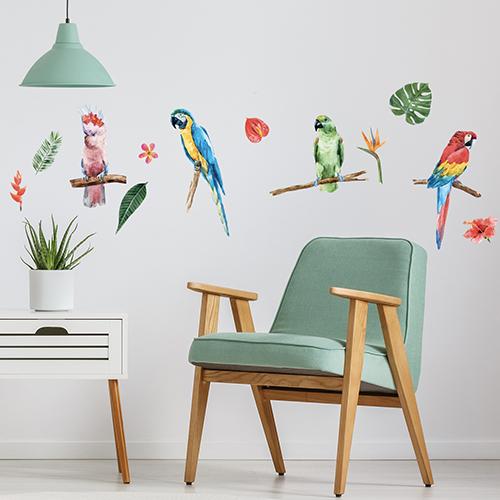 Stickers déco perroquets exotiques dispersés sur mur de salon scandinave