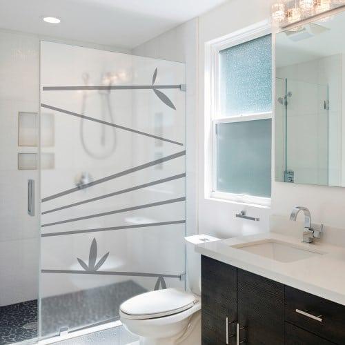 Sticker pour personnaliser la paroi de douche avec bambous horizontaux