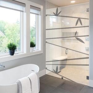 Autocollant décoration gris branches de bambous pour paroi de douche