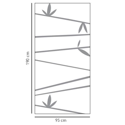 Adhésif décoratif personnalisable sticker pour paroi de douche branches de bambous gris