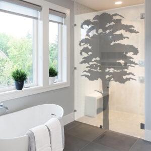 Adhésif arbre gris pour décoration de paroi de douche moderne