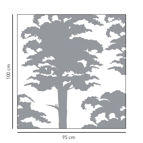 Sticker adhésif décoration arbre gris dimension pour paroi de douche