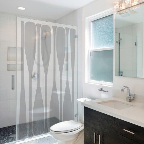 Sticker pour paroi de douche avec motif de rames de bateau - déco marine