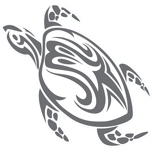 Sticker autocollant gris foncé décoration motif tortue pour salle de bain