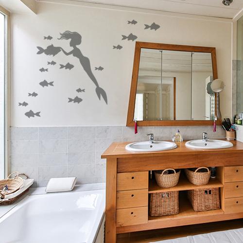 Sticker autocollant pour salle de bain gris sirène et poissons