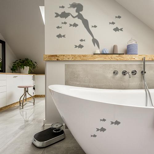 Autocollant gris sirène et poissons pour déco de salle de bain