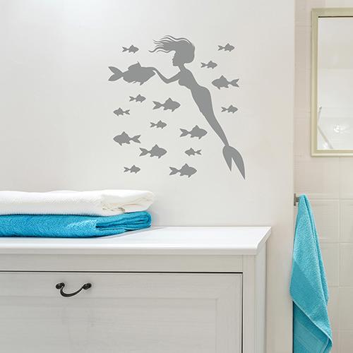 Adhésif déco poissons et sirène gris de salle de bain
