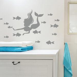 Autocollant décoration sirène et poissons gris pour salle de bain