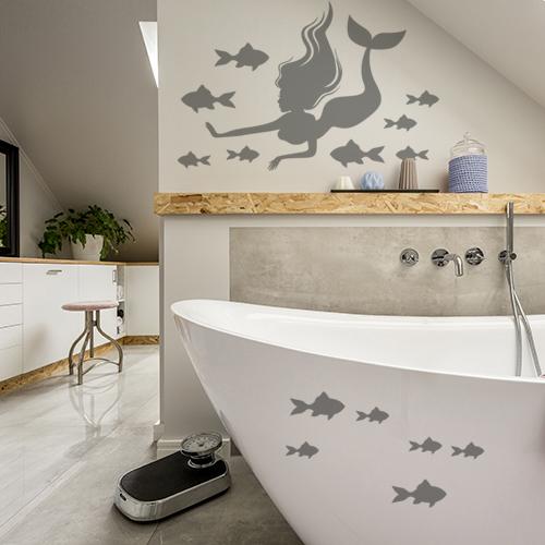 Sticker adhésif gris pour déco de salle de bain sirène et poissons