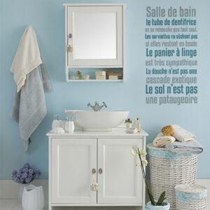 sticker texte sdb sur mur de salle de bain classique