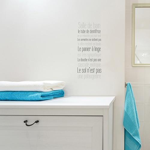 Sticker règles de la salle de bain écriture grise sur fond transparent