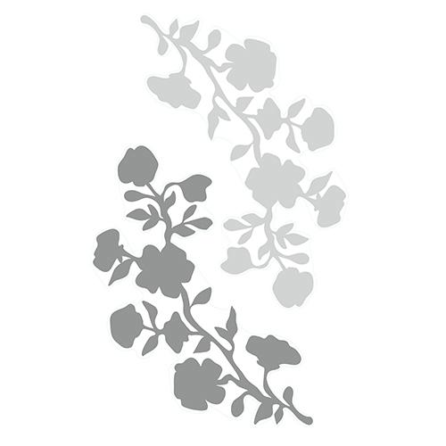 Sticker autocollant pour déco d'intérieur branches de fleurs grises
