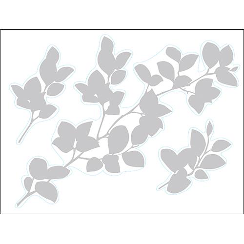 Sticker adhésif branche de fleurs gris pour déco des murs de maison