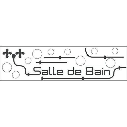 Sticker autocollant pour déco de salle de bain industrielle tuyaux noirs et lettres adhésives déco