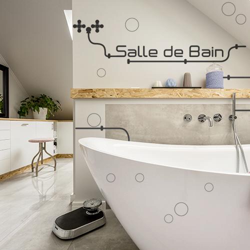 sticker sdb tuyaux au mur d'une salle de bain moderne
