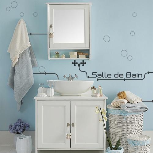 Salle de bain classique avec déco adhésive industrielle conposées de lettres adhésives et tuyaux industriels.