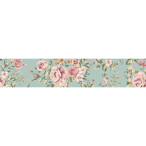 Sticker décoratif pour escaliers roses rose sur fond vert