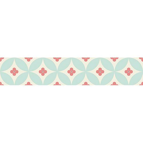 Sticker autocollant motif floral rose et turquoise pour contremarches