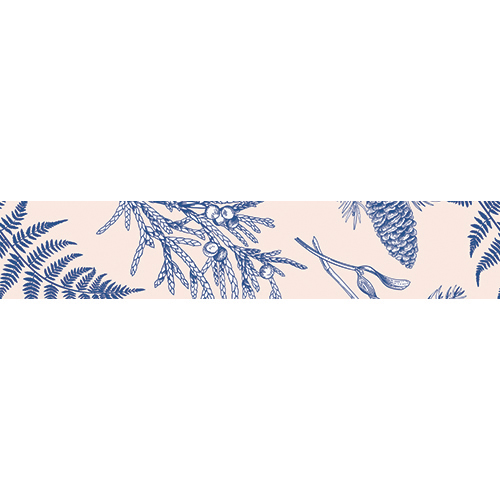 Sticker autocollant pour contremarches fougères bleus gamme tropicale