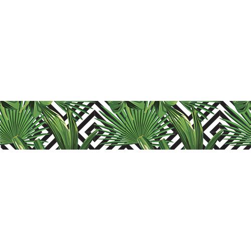 Sticker décoratif pour contremarches fougères sur fond géométrique noir et blanc
