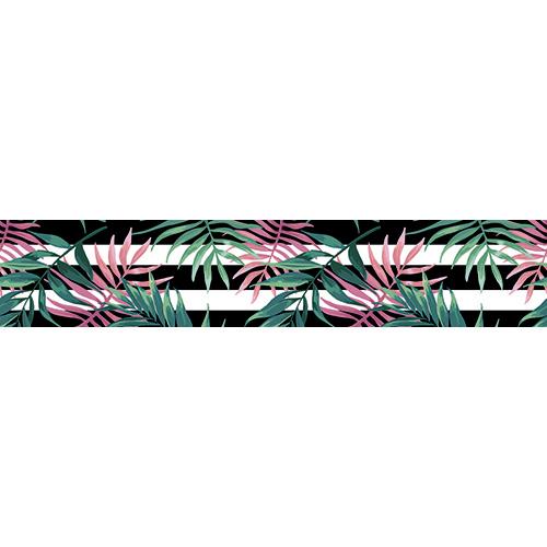 Sticker autocollant décoratif motif fougères vertes et roses pour contremarches
