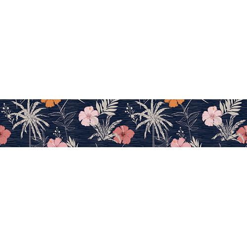 Sticker autocollant plantes tropicales multicolores sur fond noir