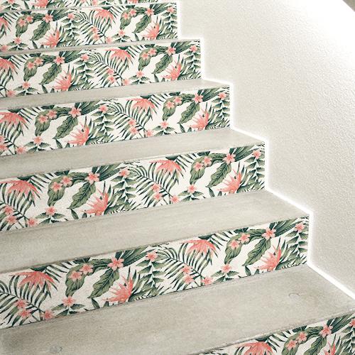 Sticker décoratif fougères vertes et fleurs roses pour contremarches