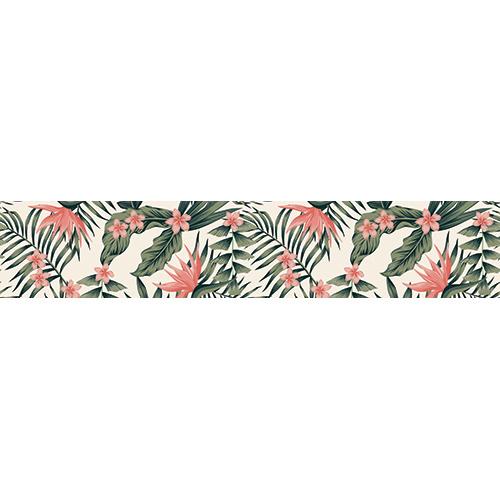 Escalier en béton orné de plusieurs stickers autocollants décoratif représentant des plantes tropicales vertes et roses