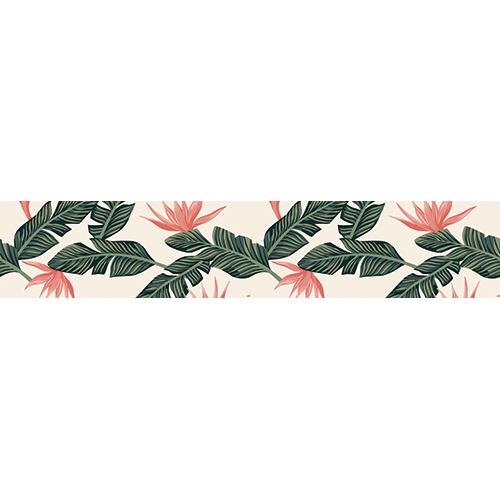 Sticker décoratif adhésif plantes exotiques vertes et roses pour contremarches