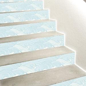 Stickers décoratifs thème Asie modèle vagues collés sur des escaliers en béton