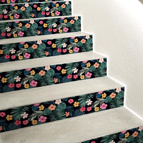 Sticker autocollant pour contremarches fleurs multicolores