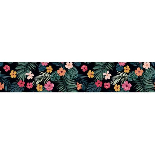 Escaliers avec des marches en béton orné de stickers autocollants représentant des fleurs de toutes les couleurs