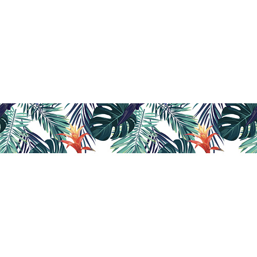 Sticker autocollant décoratif plantes exotiques multicolores pour contremarches d'escaliers