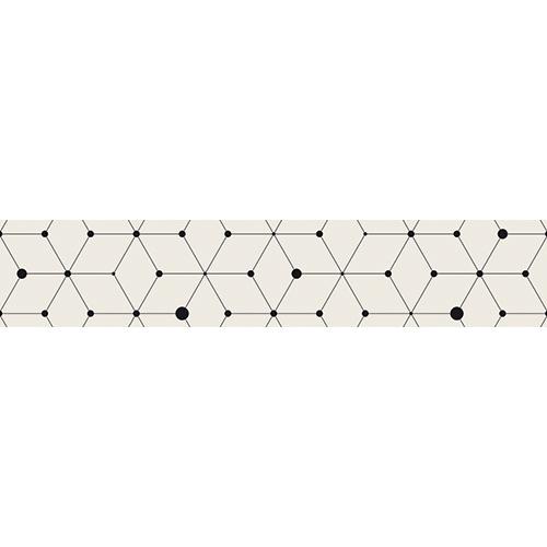 Sticker autocollant décoratif pour contremarches blanc motif géométriques